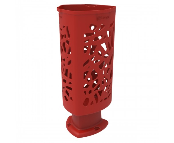Paper bin Scuderia of Polyethylene Red color RAL 3020 for Street