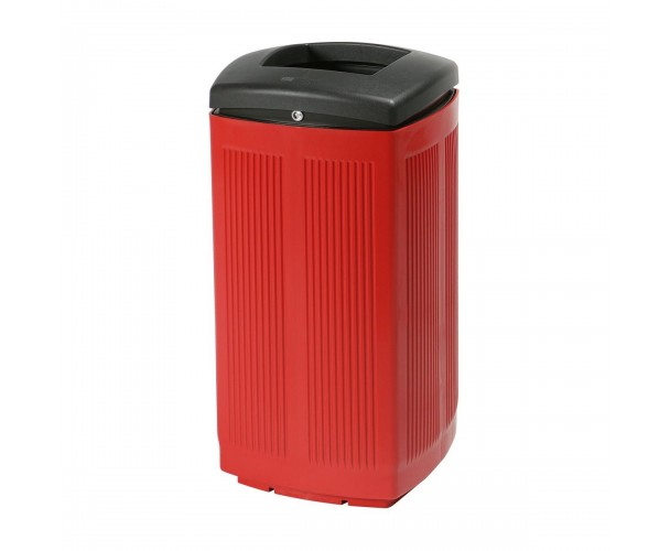 Toscana Polypropylene Red RAL 3020 Bin for street P-200-ROJ