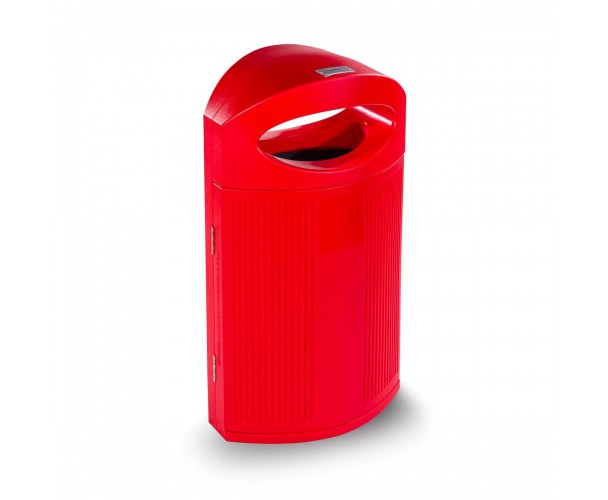 Ibiza Polyethylene Red color RAL 3020 Bin for street P-23I-ROJ