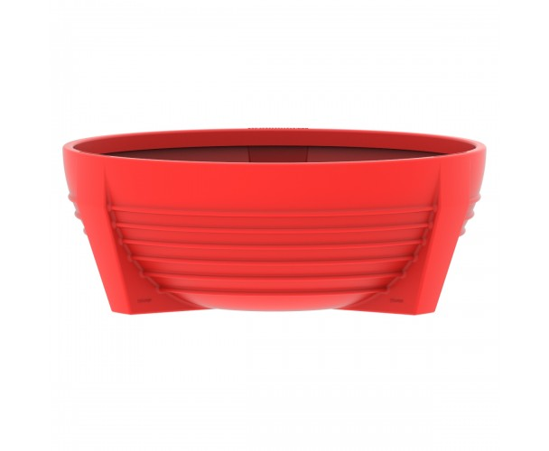 Circular Red RAL 3020 flower box of polyethylene. futura P-300-ROJ