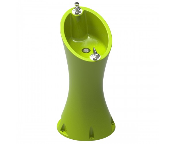 Alvium Fountain Acid Green RAL 1026 in polyethylene of 2 taps special for outdoor.